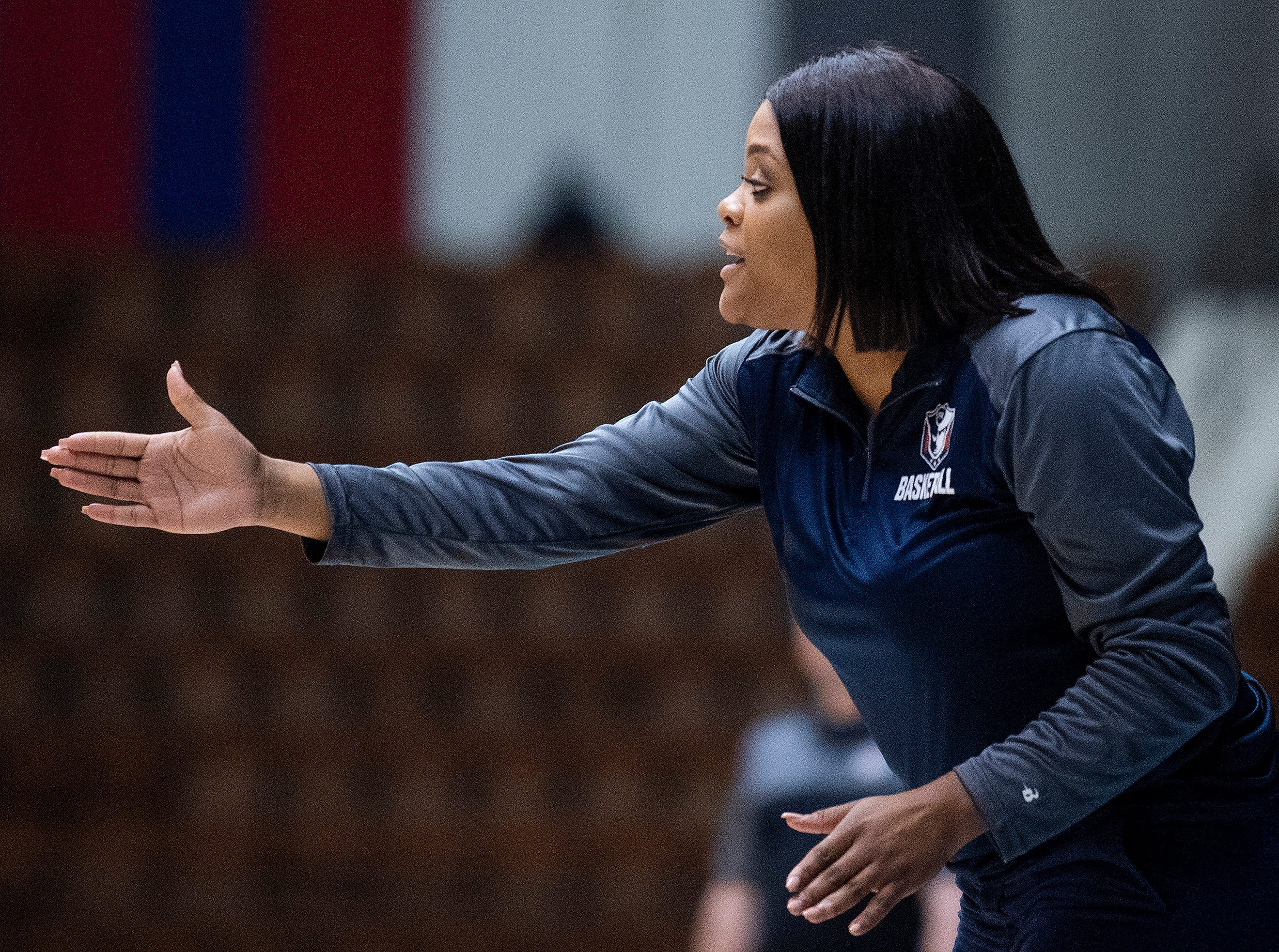 Pike Road coach Courtney Ward coaches against Straughn during AHSAA regional action Garrett Coliseum in Montgomery, Ala., on Saturday February 16, 2019.