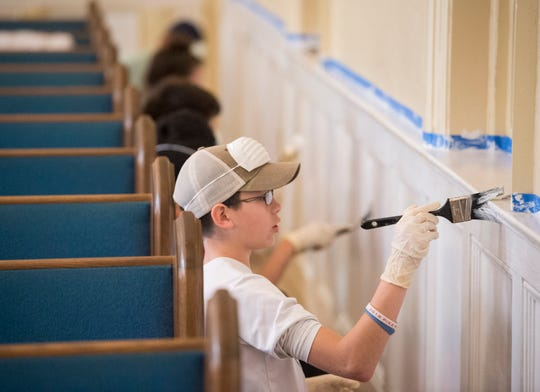 Volunteers from Eastmont and Gateway churches help renovate the Chisholm Baptist Church which will become the new home of Flatline Baptist Church in Montgomery, Ala., on Saturday, Feb. 16, 2019.