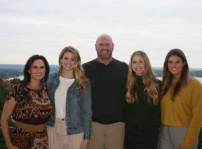 This recent photo of the Dilfer family features (from left) mother Cassandra, a former Fresno State swimmer; Tori, 19, a college volleyball player who recently transferred from TCU to Louisville; Trent, a former NFL quarterback and the new head football coach at Lipscomb Academy; Delaney, 16, a high school volleyball player in Austin, Texas who has verbally committed to play for Lipscomb University as part of the class of 2020; and Maddie, 22, a beach volleyball player for Pepperdine.
