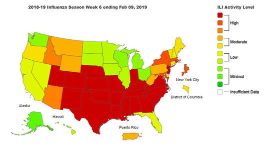 Flu activity by state