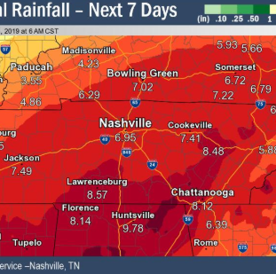 The rain is not going anywhere anytime soon, Nashville