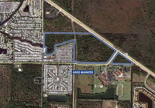 Argo Land Development has cleared land, outlined in blue on this map, at U.S. 41 East and Manatee Road for a future residential community near Manatee Middle and Elementary schools.