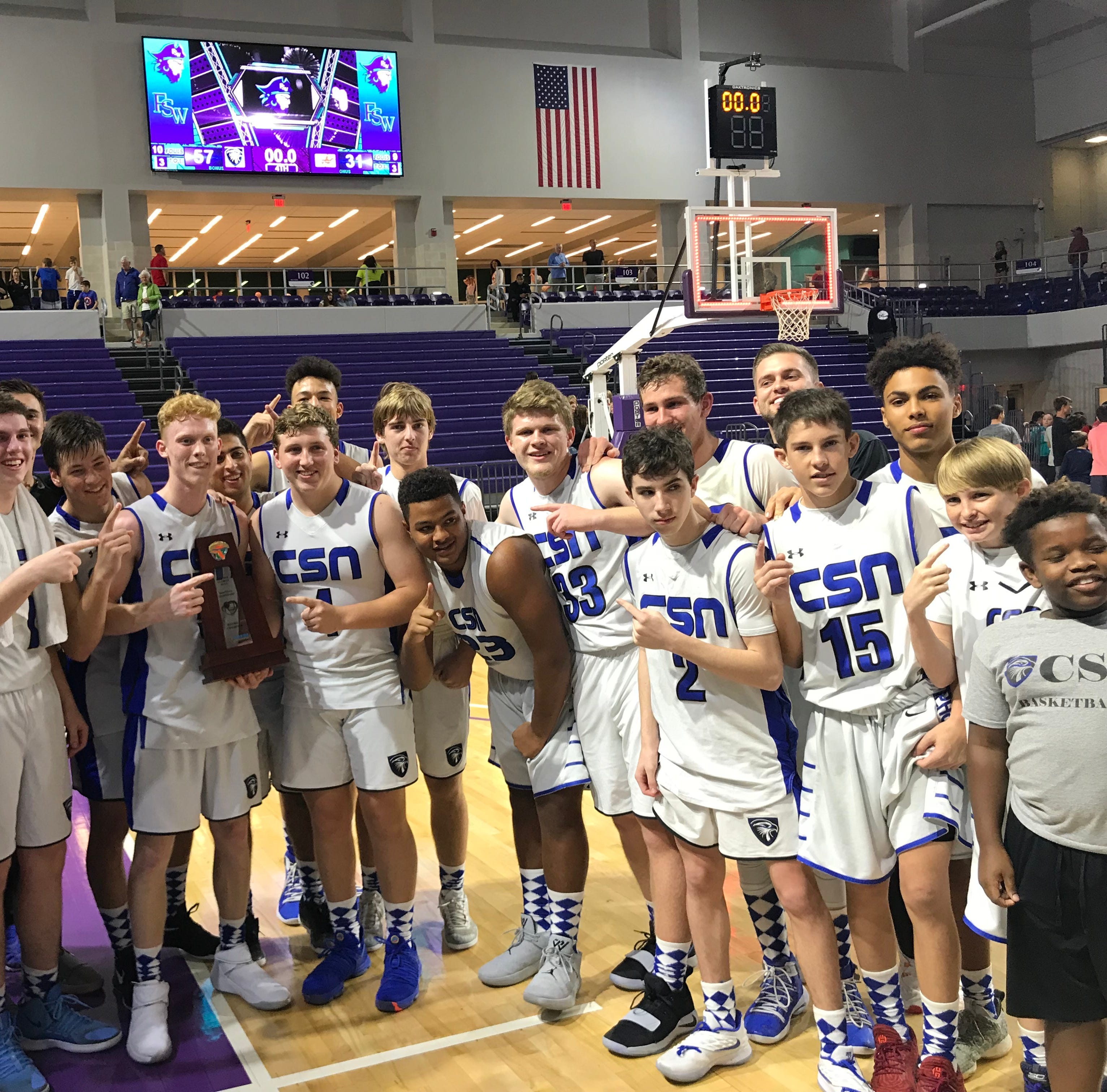 High school boys basketball: First Baptist Academy, Community School cruise to district titles