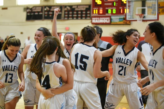 Wayne Valley celebrates a win over Kennedy in the Passaic County girls basketball semifinals in Paterson on Saturday Feb. 16, 2019.