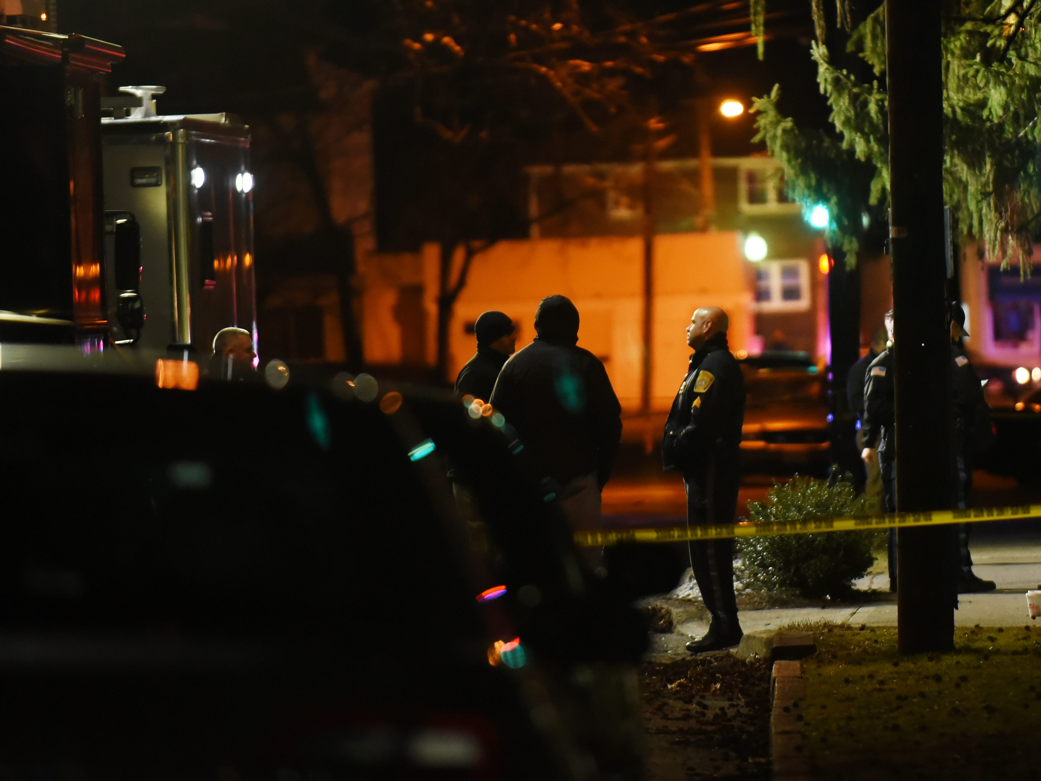 Law enforcement at the scene of a double homicide in Englewood on Saturday February 16, 2019.
