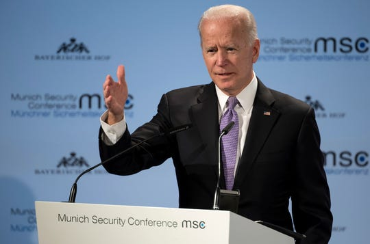 Former Vice President Joe Biden delivers his speech during the Munich Security Conference in Munich, Germany, Saturday, Feb. 16, 2019.
