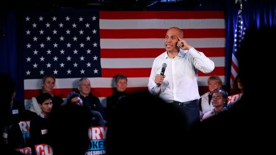 U.S. Sen. Cory Booker, D-N.J., addresses a gathering during a campaign stop in Portsmouth, N.H., Saturday, Feb. 16, 2019.