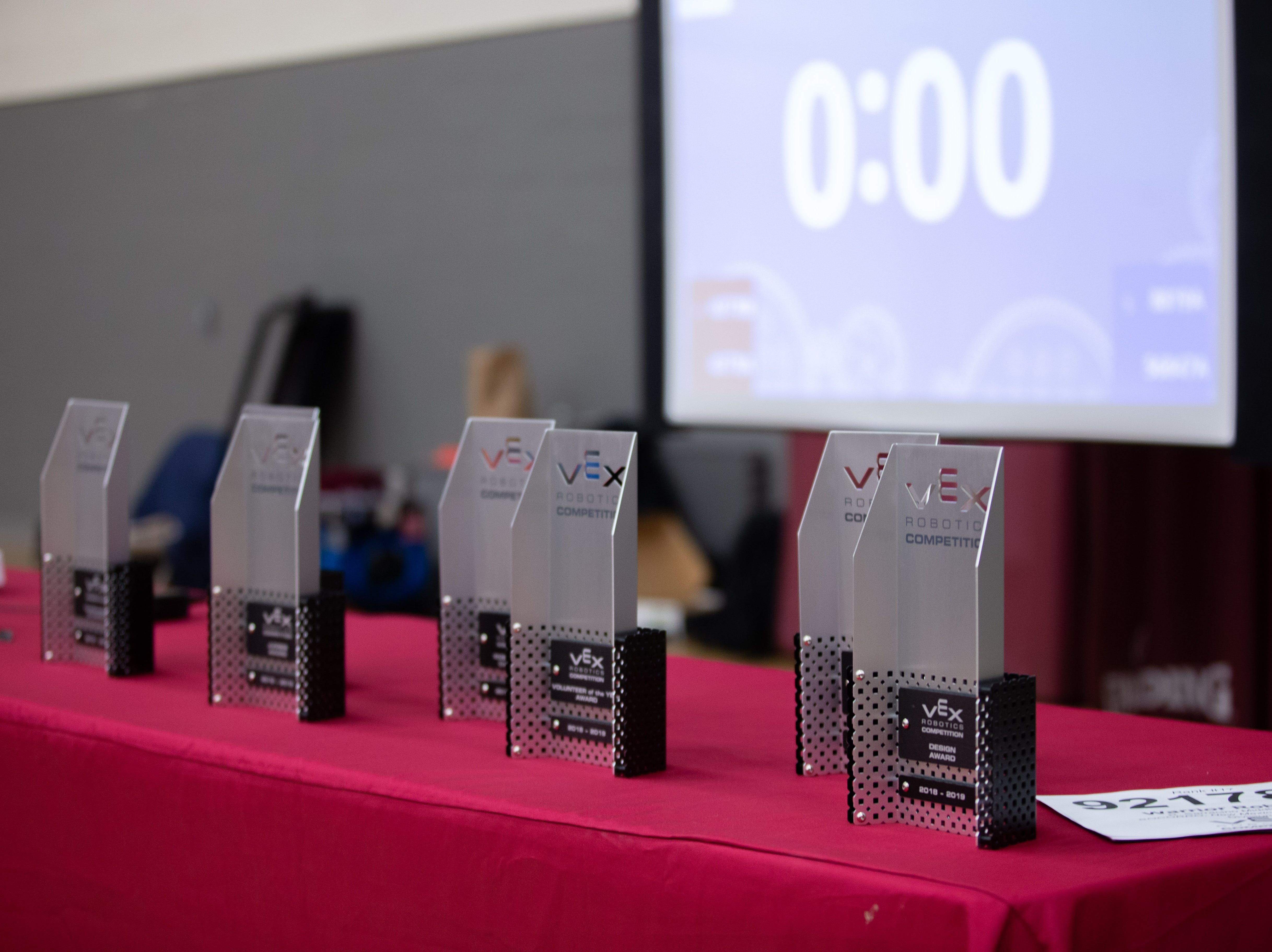 Trophies awarded to the qualifying teams at the VEX Robotics competition for elementary, middle and high school students, held on the NMSU campus on February 16, 2019.