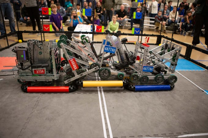 Robots battle during the VEX Robotics competition for elementary, middle and high school students held on the NMSU campus on February 16, 2019.