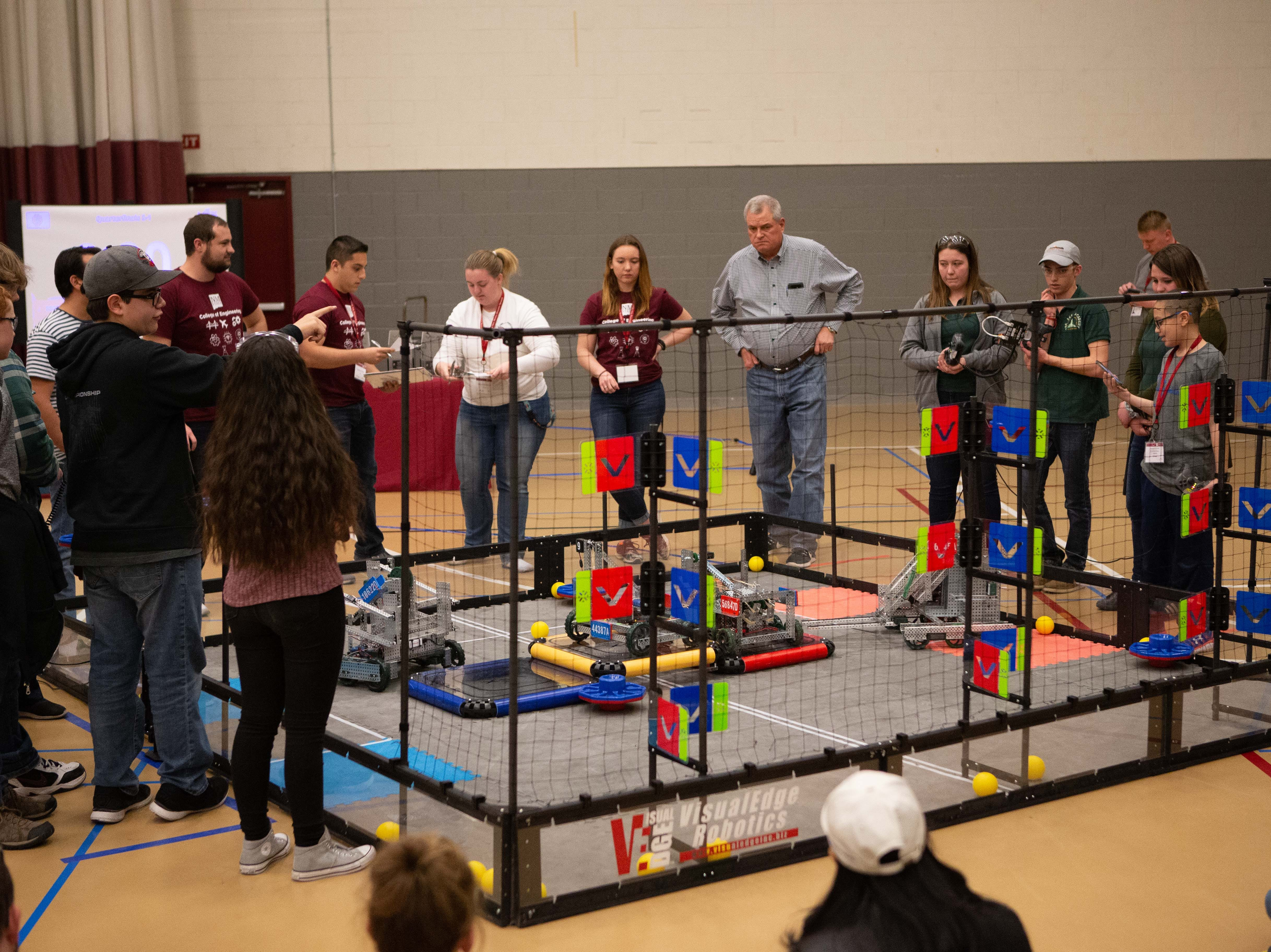 The VEX Robotics competition for elementary, middle and high school students held on the NMSU campus on February 16, 2019.
