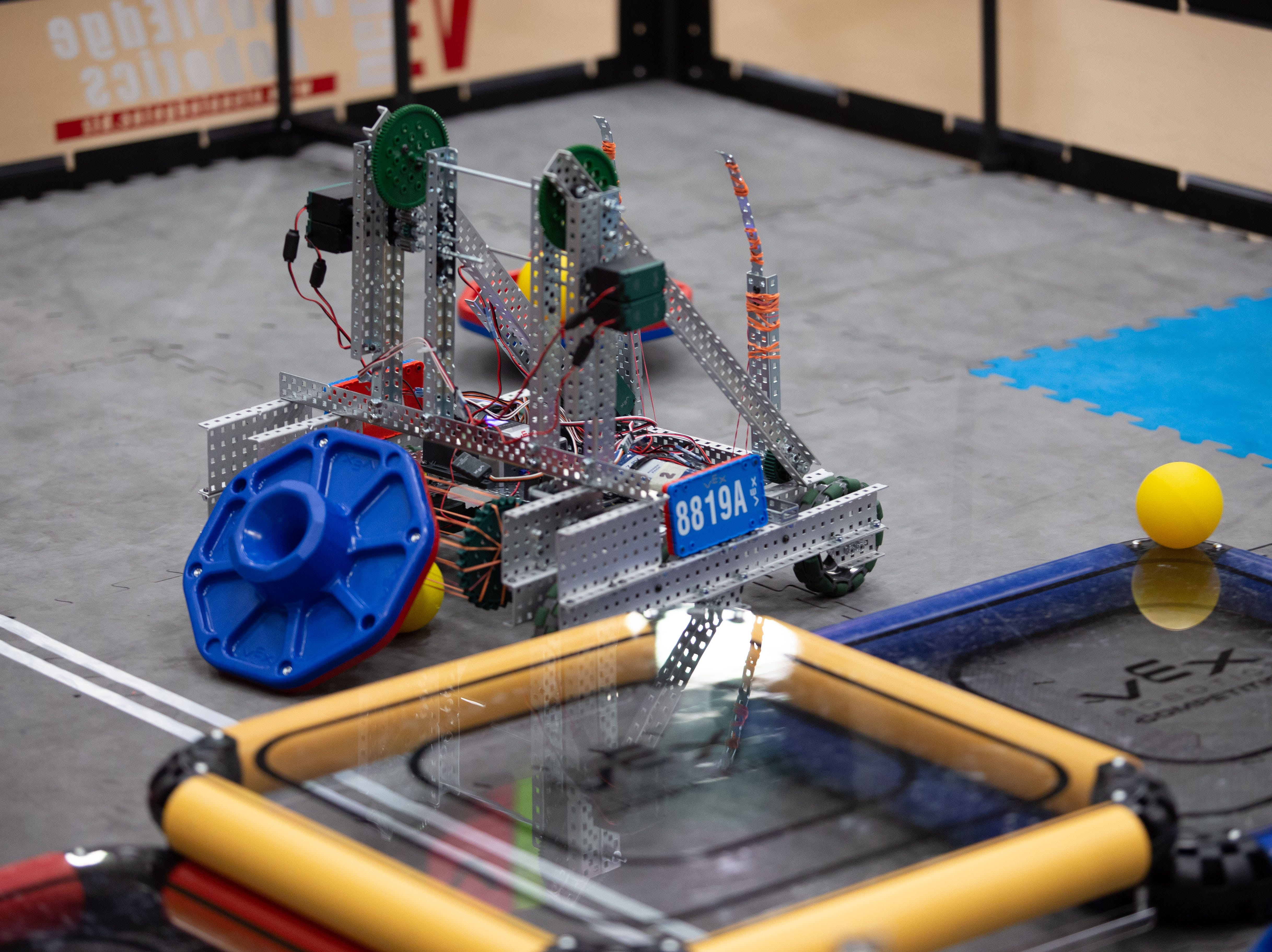A robot from Team High Five of Gallup. The VEX Robotics competition for elementary, middle and high school students held on the NMSU campus on Feb. 16, 2019.