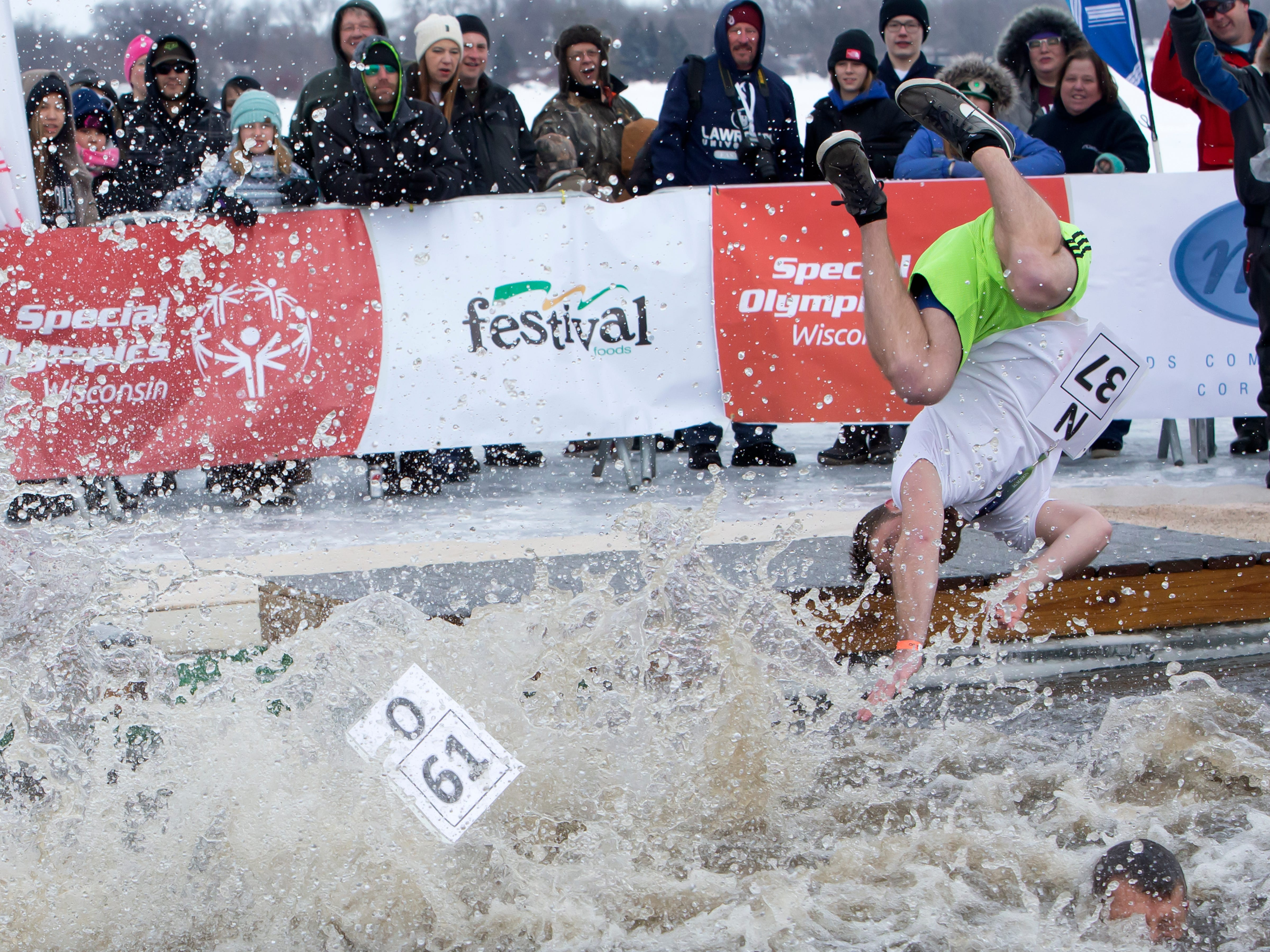 McMahon employees participant in the Special Olympics Wisconsin Polar Plunge in Oshkosh, Wis., on Saturday, February 16, 2019, at Miller's Bay in Menominee Park.
