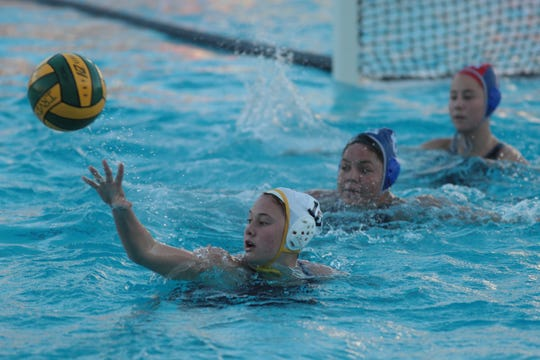Akemi Von Scherr plays for La Quinta water polo in the CIF Southern Section Division 4 championships, Irvine, Calif., Saturday, February 16, 2019.
