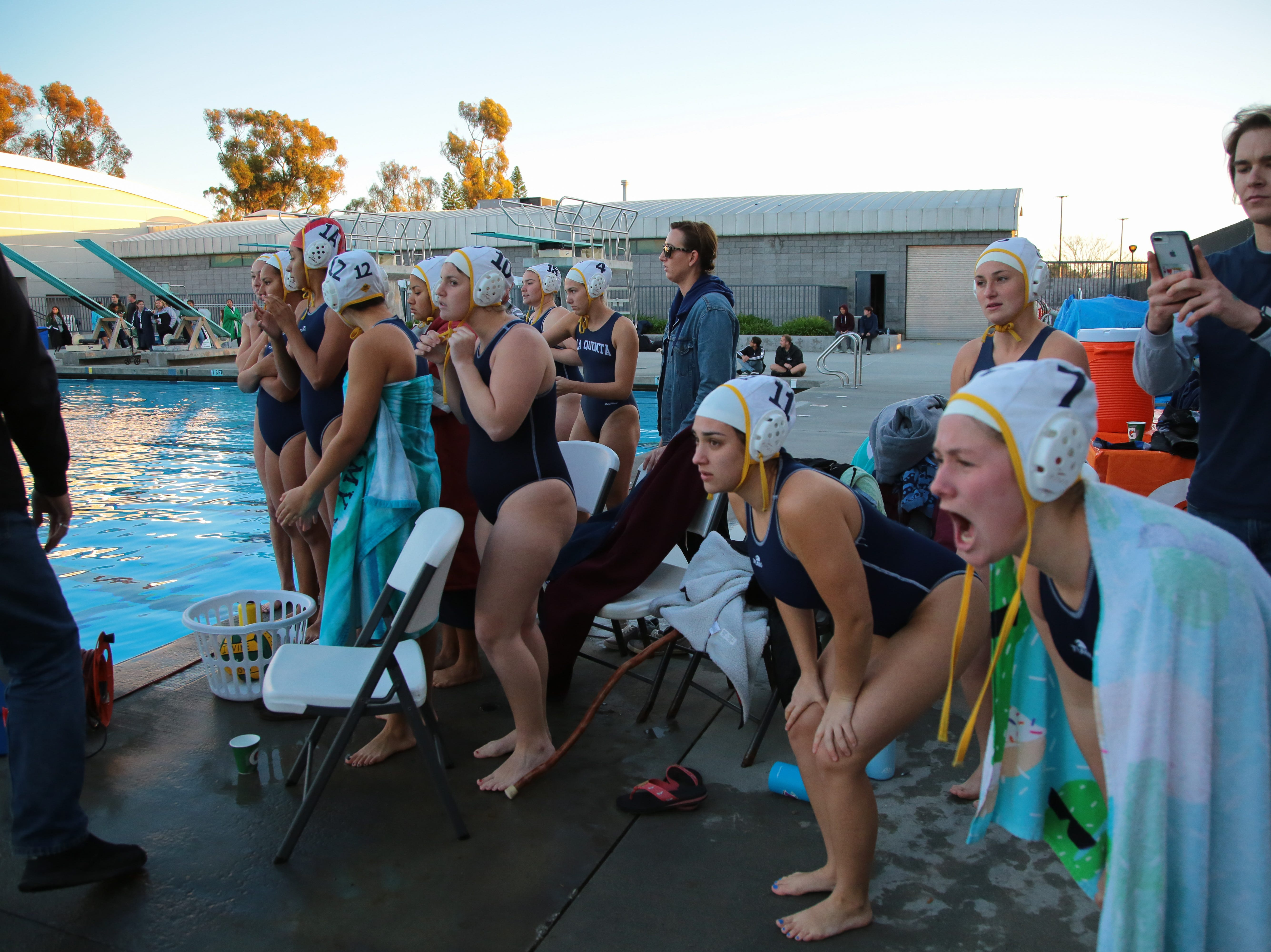 La Quinta water polo cheers for their teammates in the last minutes of the CIF Southern Section Division 4 championships, Irvine, Calif., Saturday, February 16, 2019.