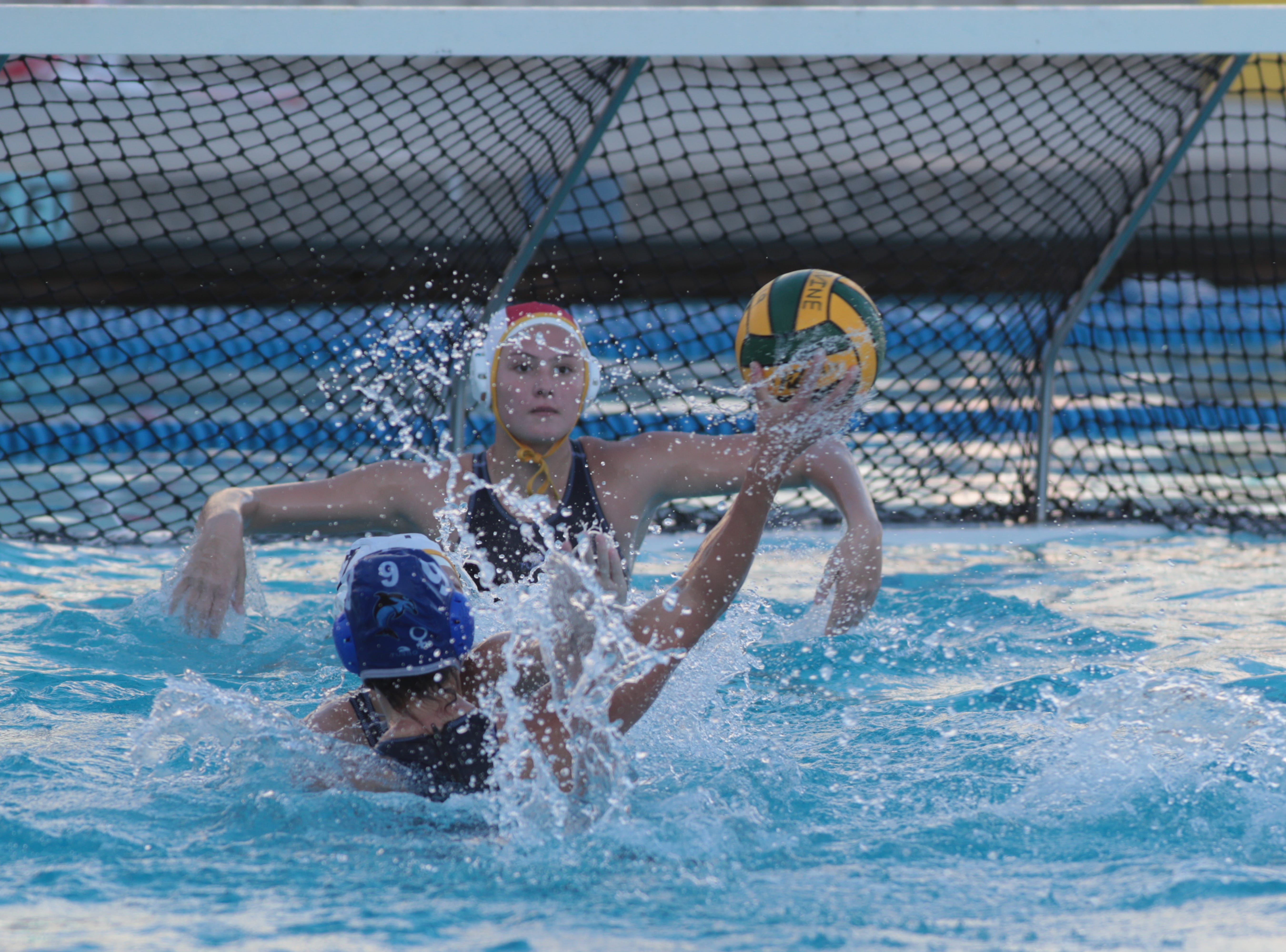 Annabelle Sherman blocks a goal for La Quinta in the CIF Southern Section Division 4 championships, Irvine, Calif., Saturday, February 16, 2019.