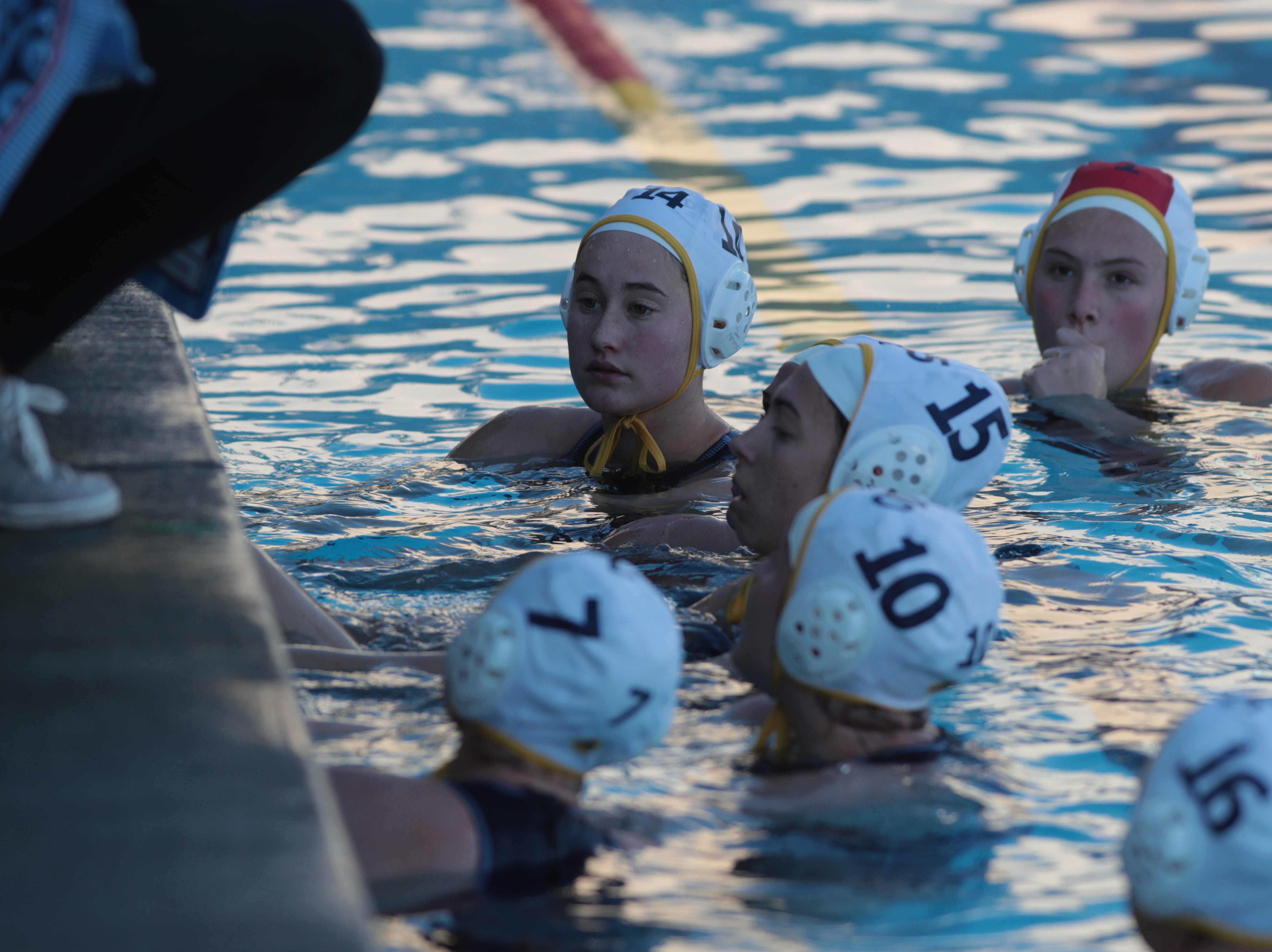 La Quinta water polo takes a time-out during the CIF Southern Section Division 4 championships, Irvine, Calif., Saturday, February 16, 2019.