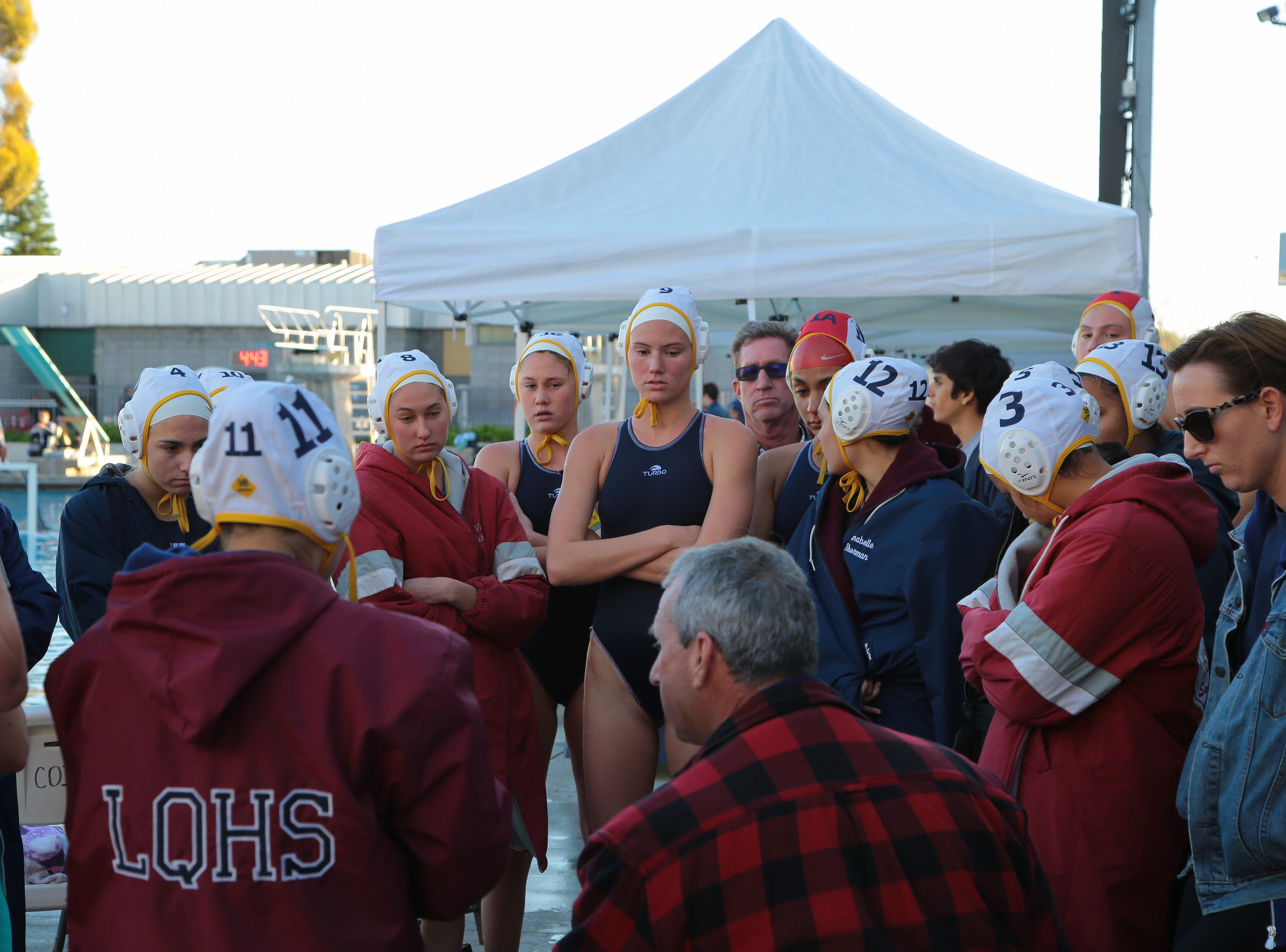 La Quinta water polo talks during half time at the CIF Southern Section Division 4 championships, Irvine, Calif., Saturday, February 16, 2019.