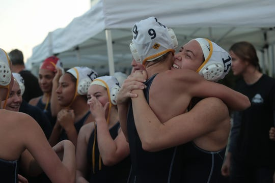 La Quinta water polo celebrates after winning the CIF Southern Section Division 4 championships, Irvine, Calif., Saturday, February 16, 2019.