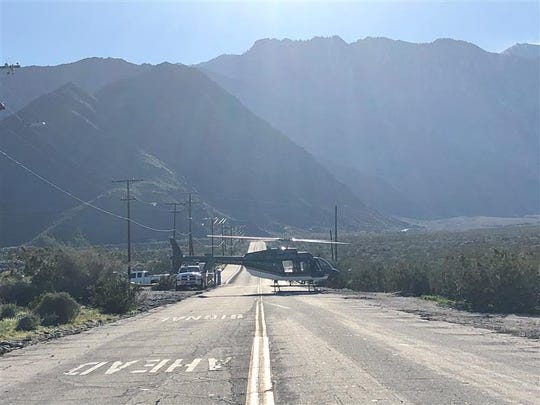A helicopter landed Saturday afternoon on Tram Way in Palm Springs.