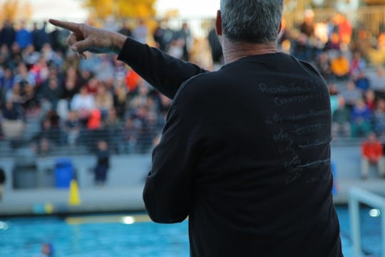 """La Quinta Coach Cal Lowell wears a shirt with the """"Road to CIF Championships"""" listed on the back at the CIF Southern Section Division 4 championships, Irvine, Calif., Saturday, February 16, 2019."""