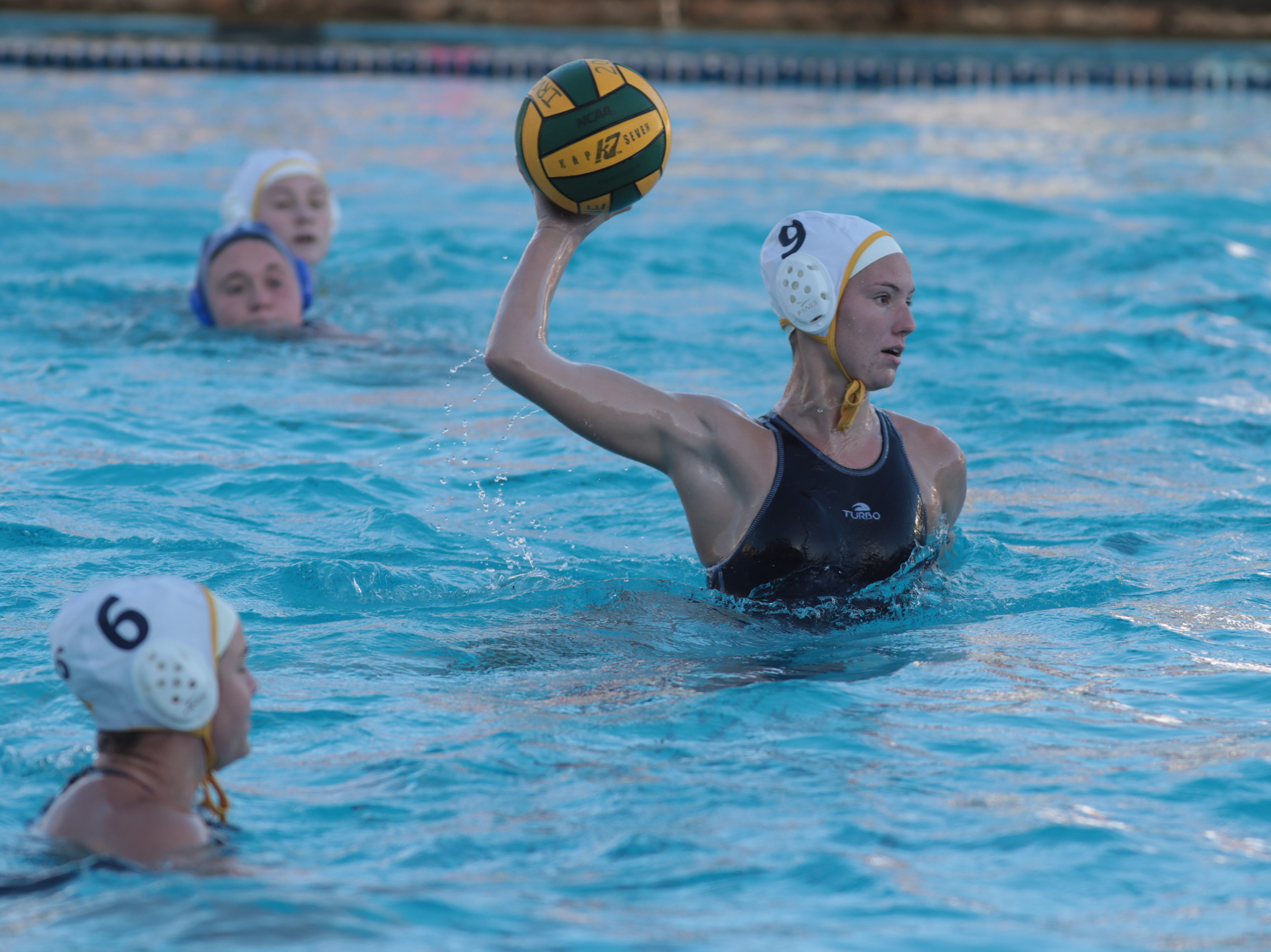 Rachel Sherman shoots for La Quinta water polo in the CIF Southern Section Division 4 championships, Irvine, Calif., Saturday, February 16, 2019.