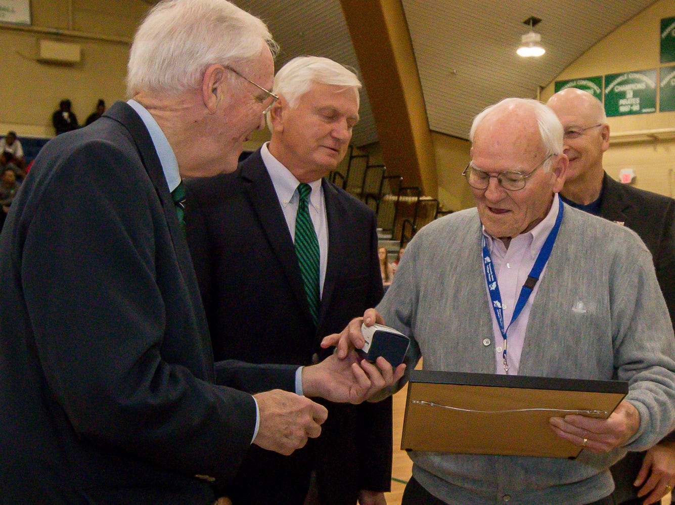Dr. Bill Brantley is honored during Pensacola State College's inaugural Athletics Hall of Fame induction ceremony on Saturday, February 16, 2019, in the Hartsell Arena on the main campus. A former basketball player, Brantley taught at the college for over 30 years, and continues to donate to the PSC Foundation and the athletics department.