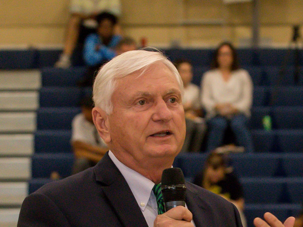 Dr. Ed Meadows, president of Pensacola State College, speaks during the college's inaugural Athletics Hall of Fame induction ceremony on Saturday, February 16, 2019, in the Hartsell Arena on the main campus.