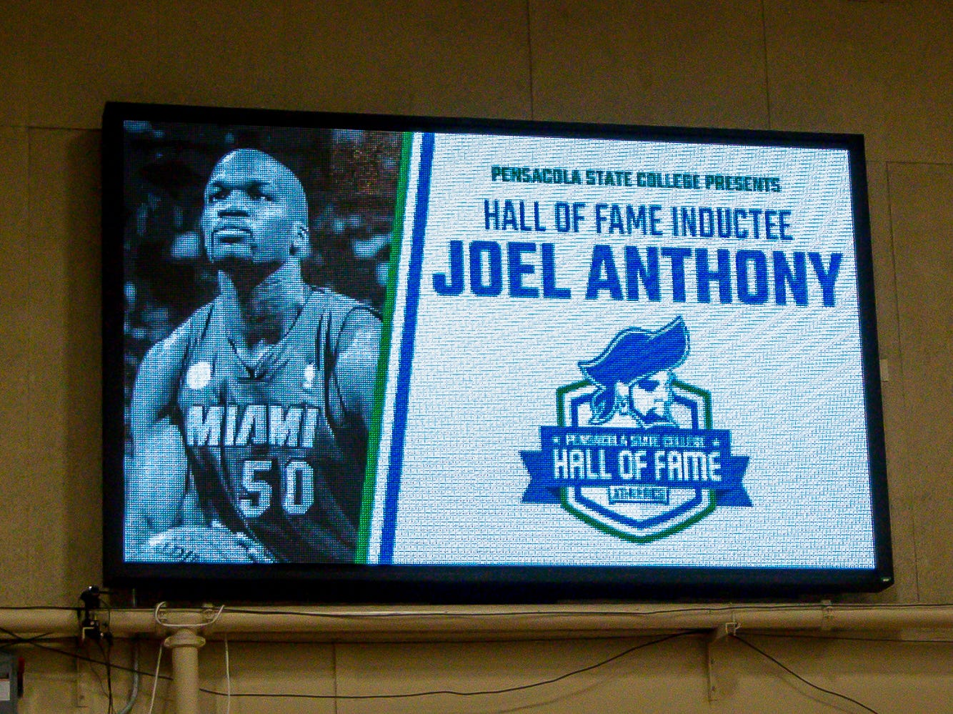 Joel Anthony is honored during Pensacola State College's inaugural Athletics Hall of Fame induction ceremony on Saturday, February 16, 2019, in the Hartsell Arena on the main campus. He was a member of the basketball team from 2002-04 and won two NBA championships as a member of the Miami Heat. He currently plays basketball for Argentina's San Lorenzo de Almagro basketball club league and was unable to attend the ceremony.