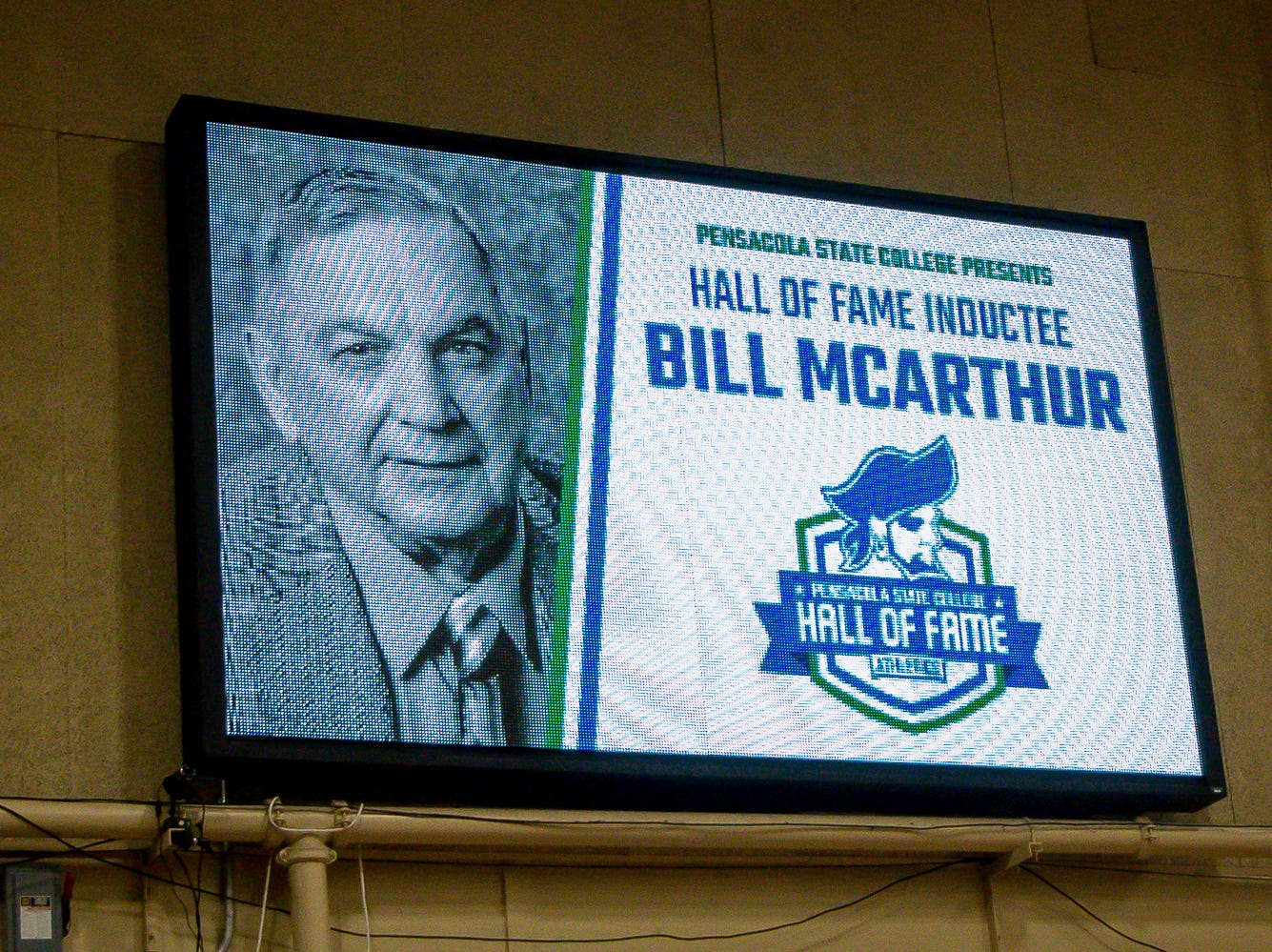 Bill McArthur is posthumously inducted into Pensacola State College's inaugural Athletics Hall of Fame induction ceremony on Saturday, February 16, 2019, in the Hartsell Arena on the main campus. He graduated from the college in 1953 and also was inducted into the Pensacola High School Hall of Fame. His brother Gerald received the award in his memory.