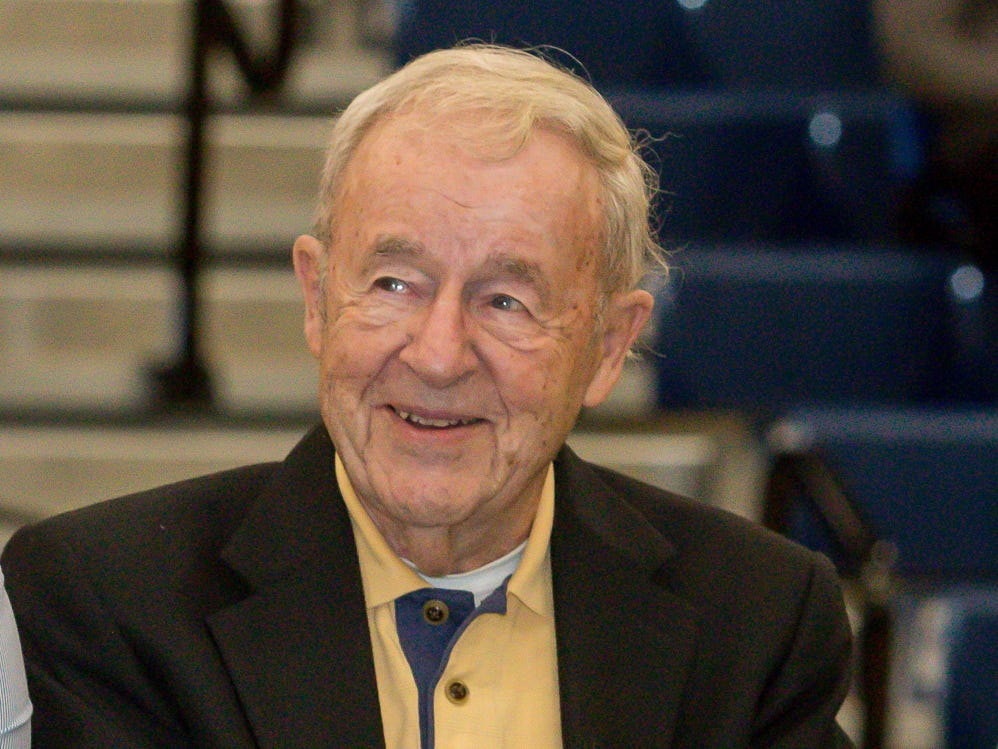 Jim Donovan smiles before being introduced as an inductee during Pensacola State College's inaugural Athletics Hall of Fame induction ceremony on Saturday, February 16, 2019, in the Hartsell Arena on the main campus. He was the college's golf coach from 1987-93, and in his last year the team won the NJCAA Div. II championship and he was named the National Golf Coach of the Year.