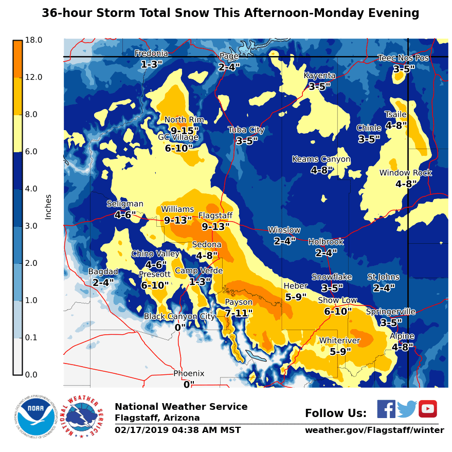 Heavy snowfall expected in northern Arizona Sunday evening