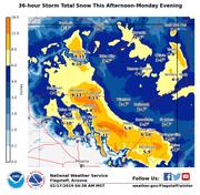 Snowfall projections in northern Arizona on Feb. 17, 2019.