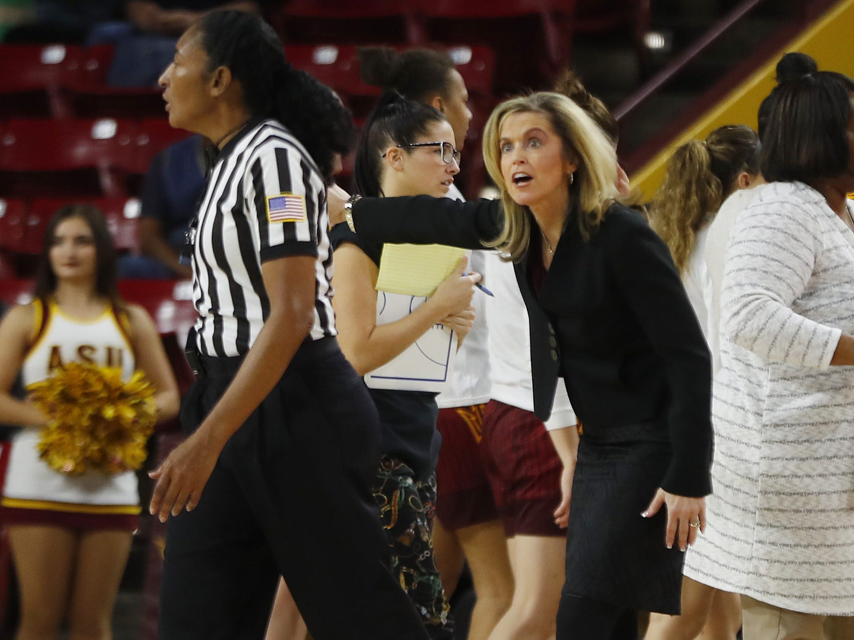 ASU's head coach Charli Turner Thorne questions officials after a no-call during the first half against Utah at Wells Fargo Arena in Tempe, Ariz. on February 17, 2019.