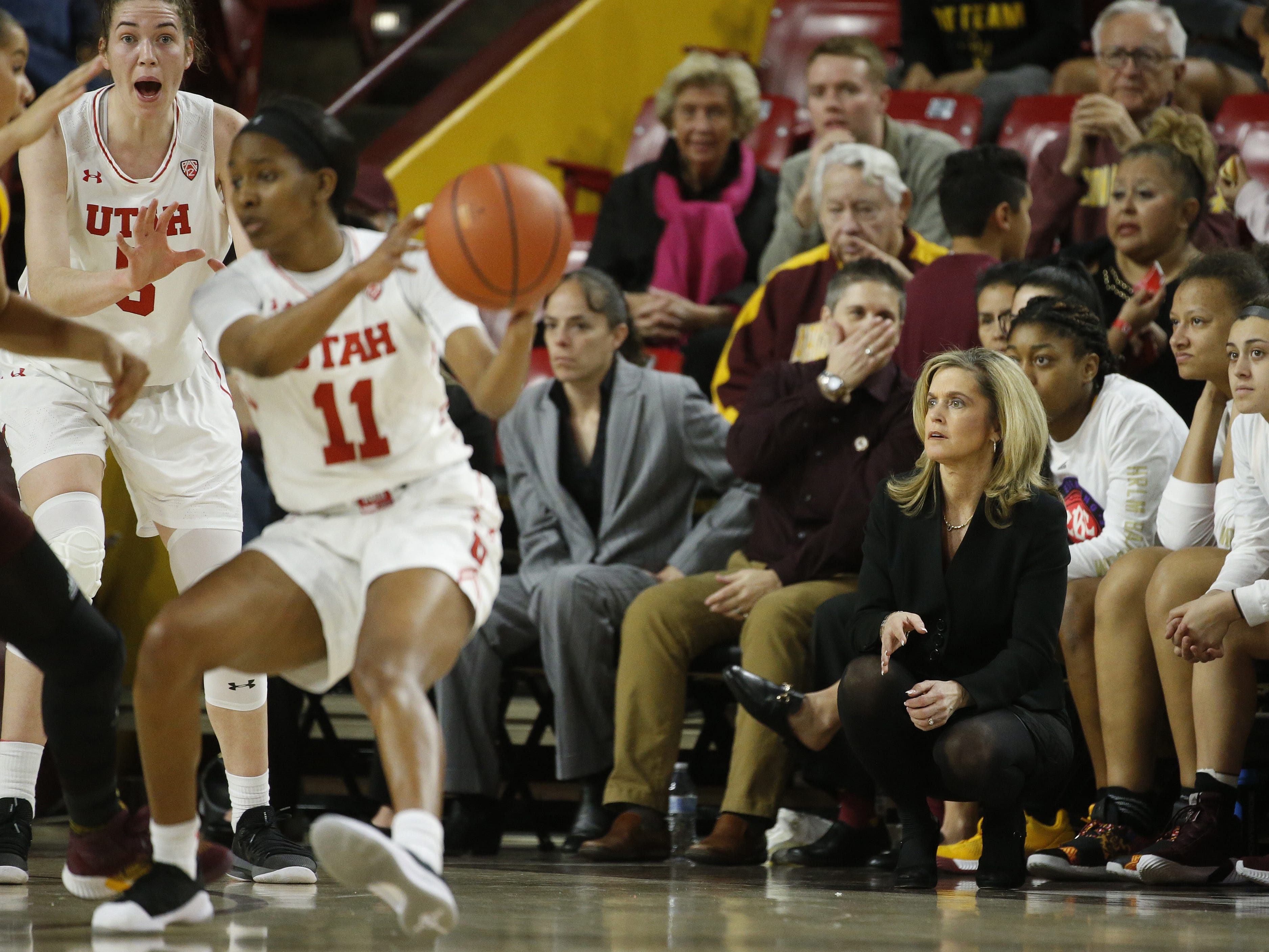 ASU's head coach Charli Turner Thorne watches her team take on Utah during the first half at Wells Fargo Arena in Tempe, Ariz. on February 17, 2019.