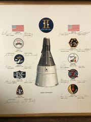 "Margaret Gsell created this piece recognizing the Gemini missions, which ended in 1966. It features the signatures of the astronauts on each mission. They are: (left column) Gemini III, Virgil Grissom and John Young; Gemini V, L. Gordon Cooper and Charles Conrad; Gemini VII, Frank Borman and James Lovell; Gemini IX-A, Thomas Stafford and Eugene Cernan; Gemini XI, Charles Conrad and Richard Gordon; Gemini IV, James McDivitt and Edward White II; Gemini VI-A, Walter Schirra and Thomas Stafford; Gemini VIII, Neil Armstrong and David Scott; Gemini X, John Young and Michael Collins; and Gemini XII, James Lovell and Edwin ""Buzz"" Aldrin;"