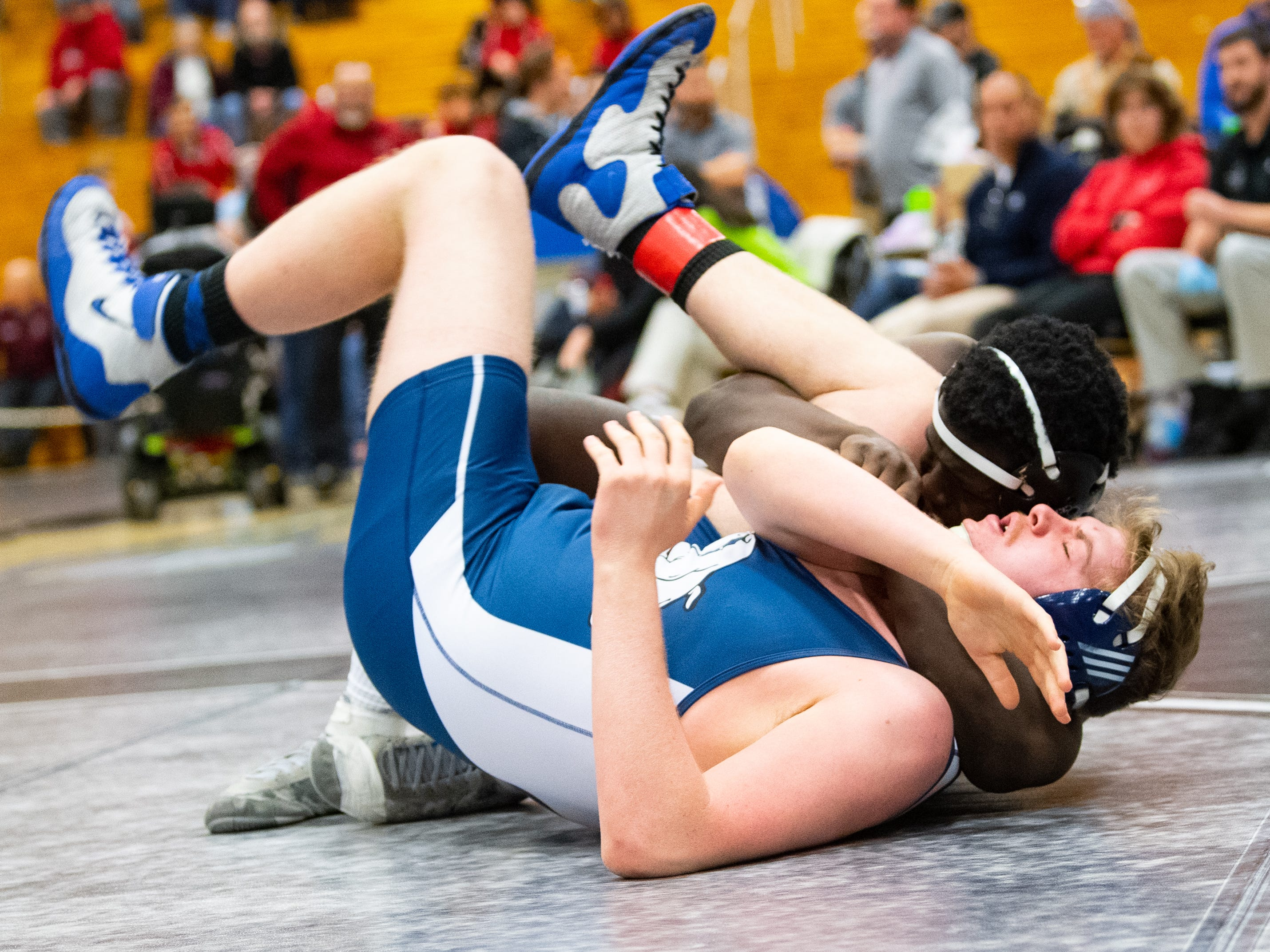 Dallastown's Jamal Brandon looks to pin F. Veloce of West York during the PIAA District 3 Section IV Wrestling Championships, Saturday, February 16, 2019 at South Western High School.