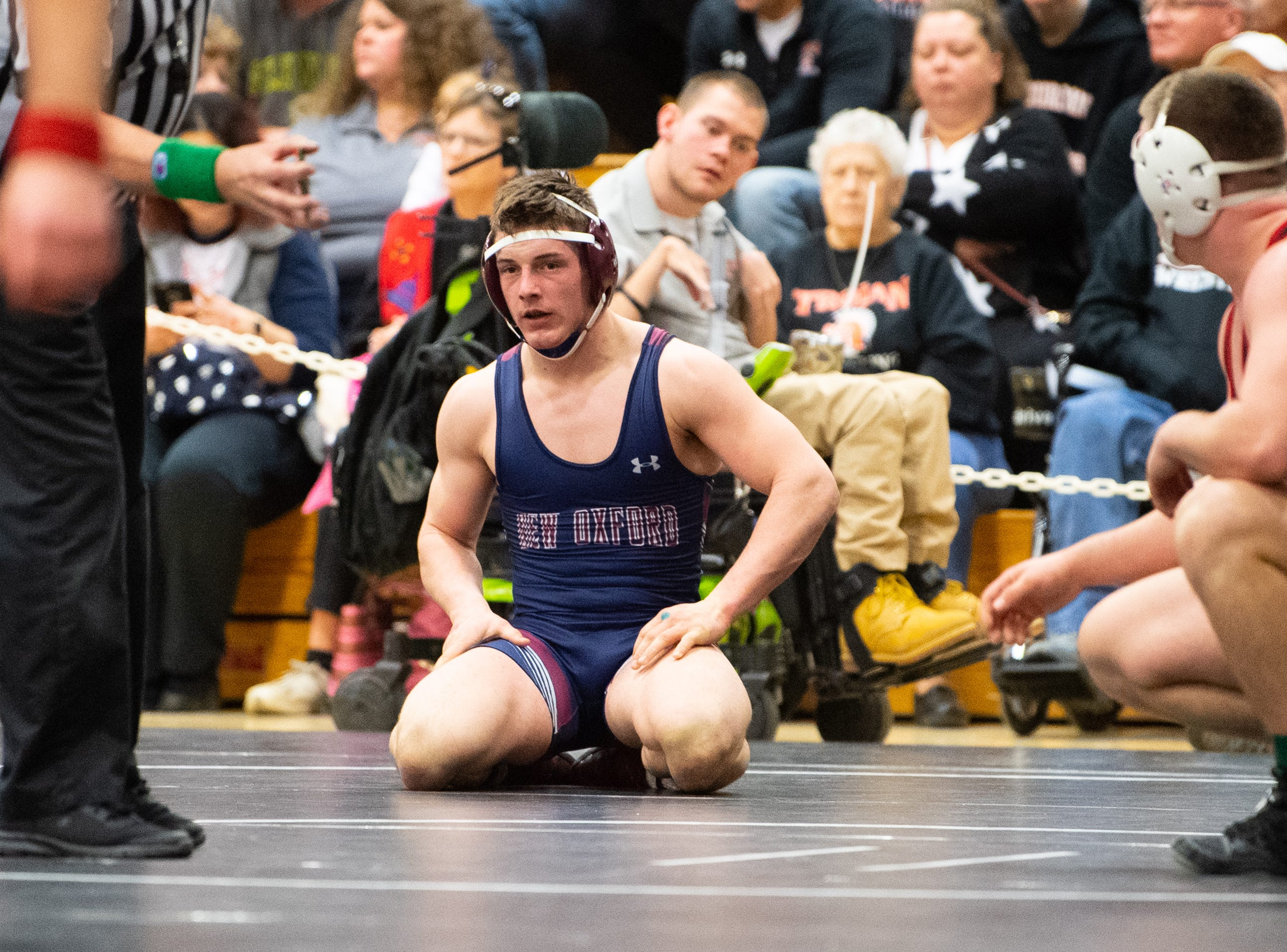 Dylan Forbes of New Oxford thinks about his next move during the PIAA District 3 Section IV Wrestling Championships, Saturday, February 16, 2019 at South Western High School.
