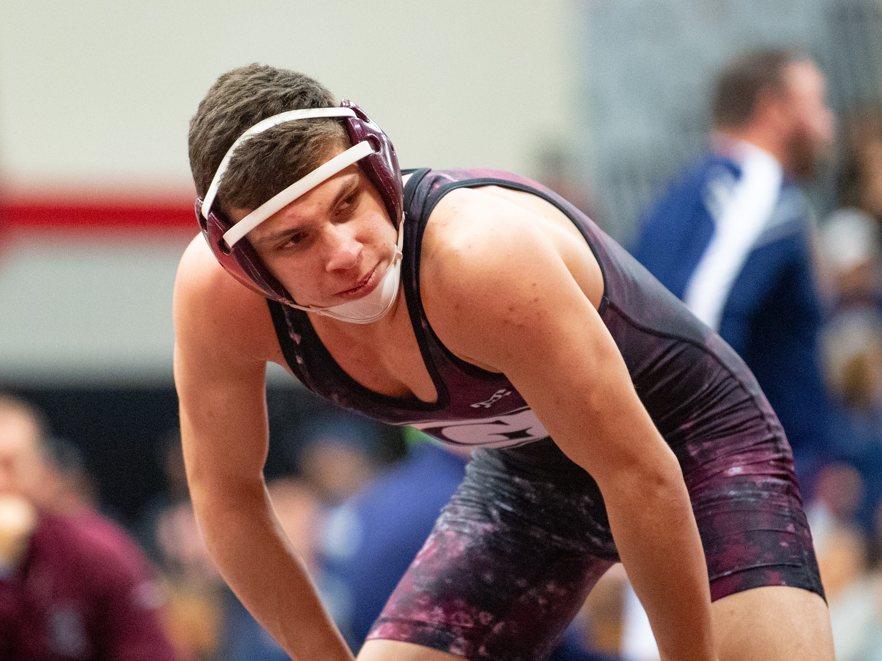 Luke Sainato of Gettysburg is ready for his match during the PIAA District 3 Section IV Wrestling Championships, Saturday, February 16, 2019 at South Western High School.