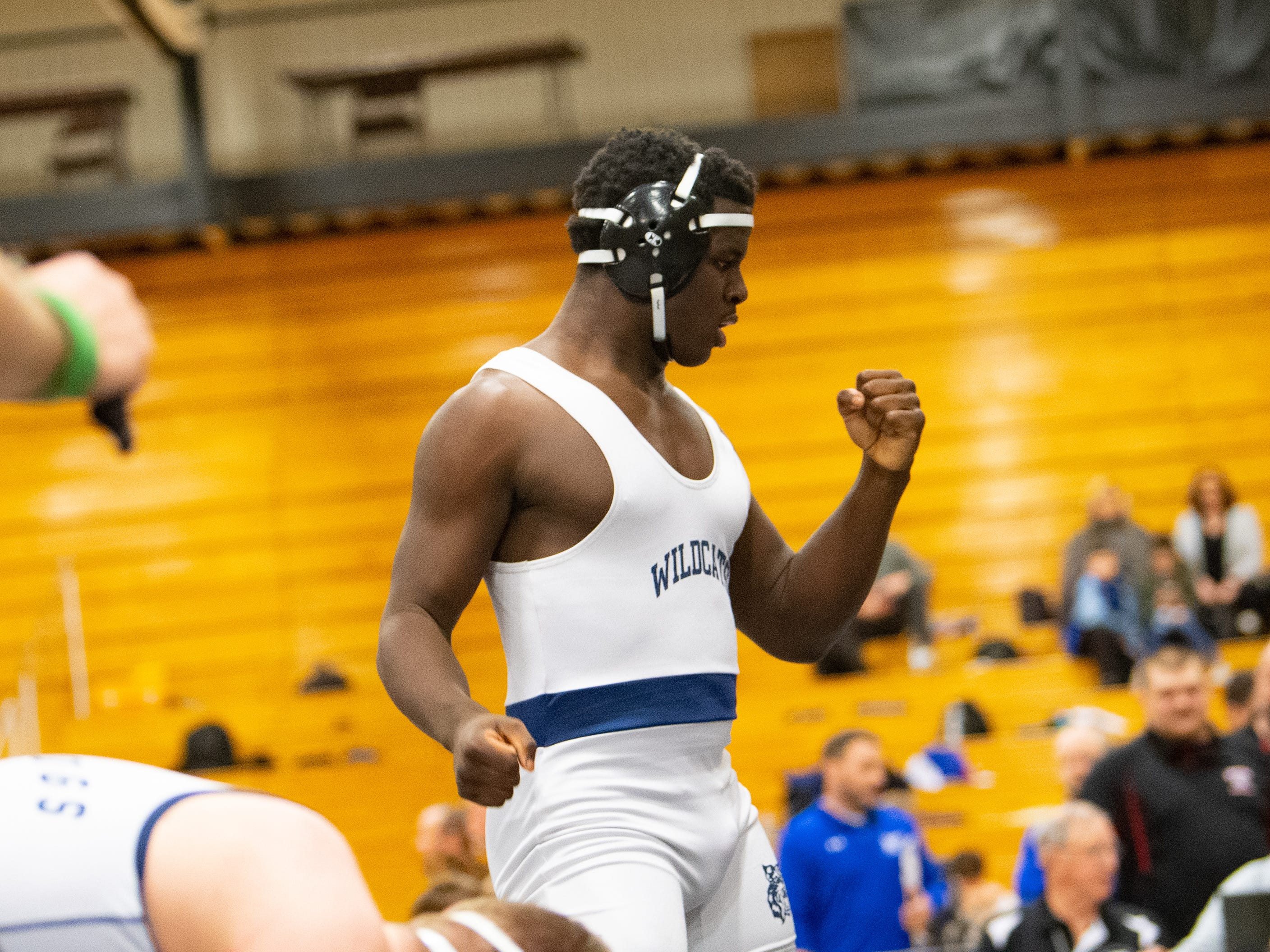 Dallastown's Jamal Brandon celebrates after winning first place in his weight class during the PIAA District 3 Section IV Wrestling Championships, Saturday, February 16, 2019 at South Western High School.