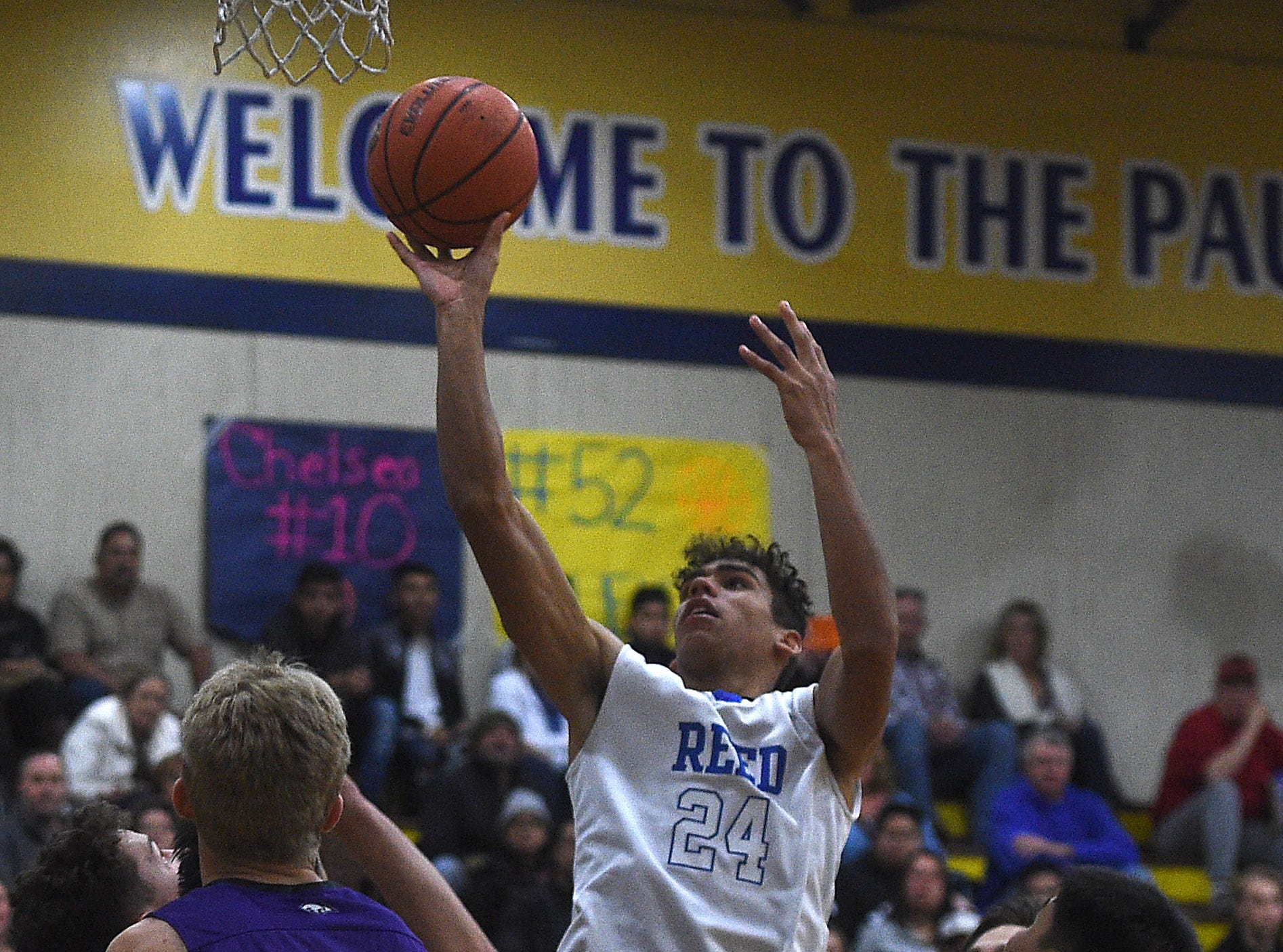 Reed's Tyler Wilson (24) shoots while taking on Spanish Springs during their basketball game in Sparks on Feb. 16, 2019.