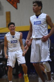 Reed's Franz Castillo (0) celebrates while taking on Spanish Springs during their basketball game in Sparks on Feb. 16, 2019.