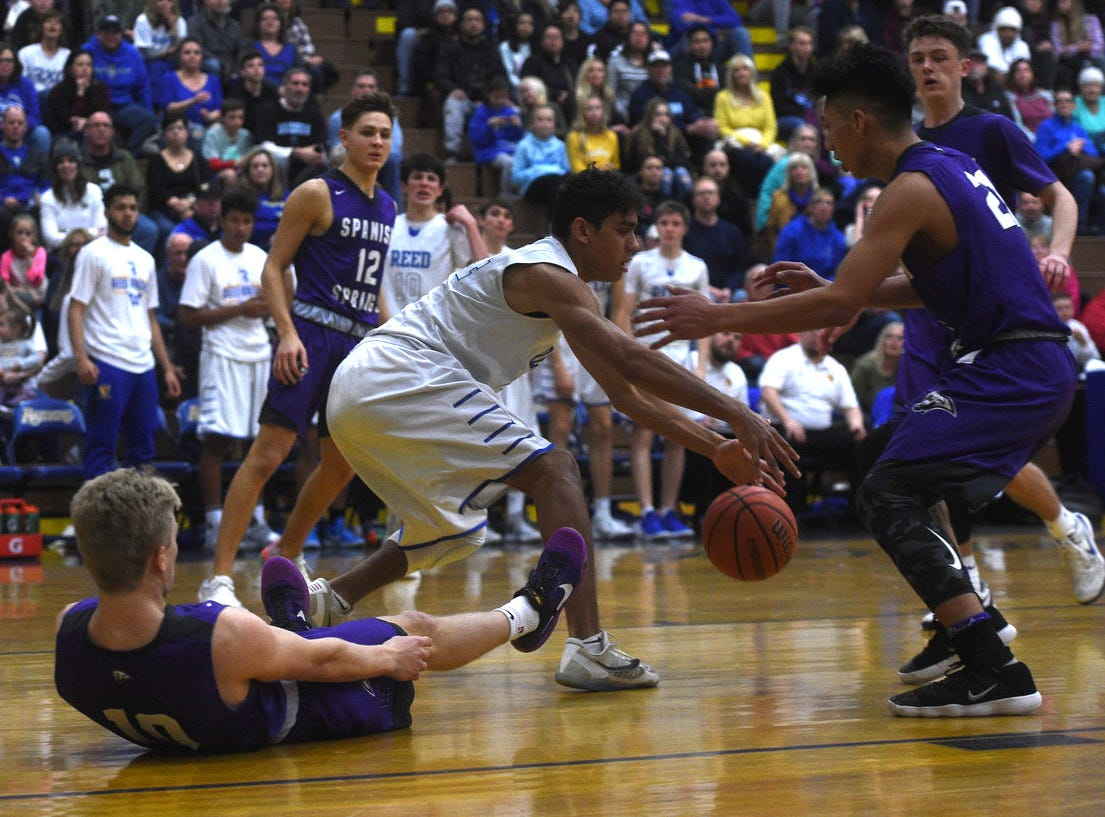 Reed takes on Spanish Springs during their basketball game in Sparks on Feb. 16, 2019.