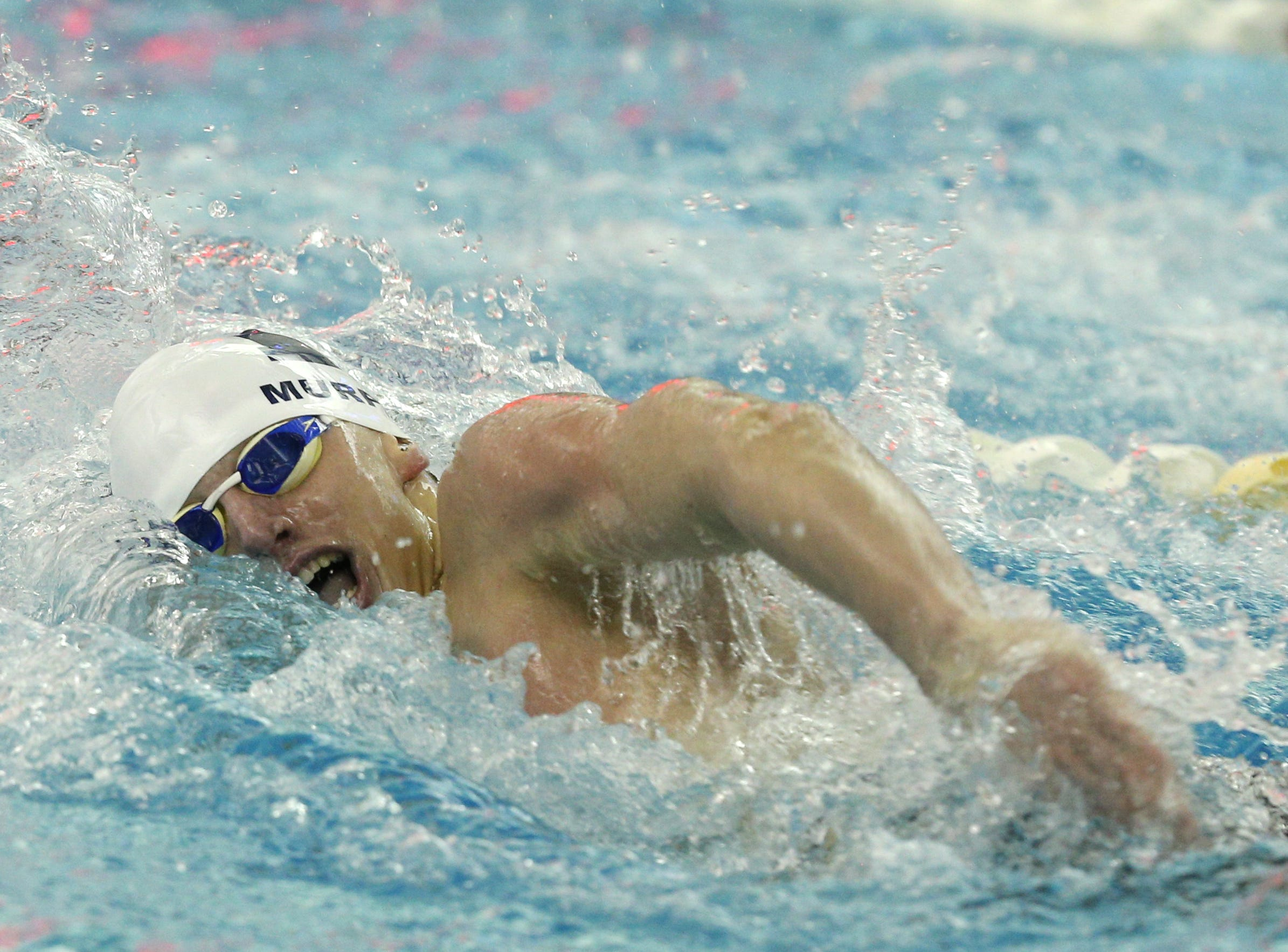Liam Murphy swims the anchor leg of the 400-yard freestyle as Pittsford swims to victory in 3:12.02.