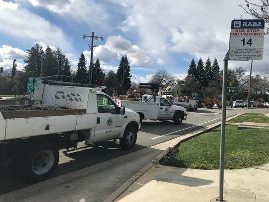 City of Redding crews block part of Cypress Avenue near Pine Street as they work on a broken water main in this Sunday, February 17, 2019 picture.