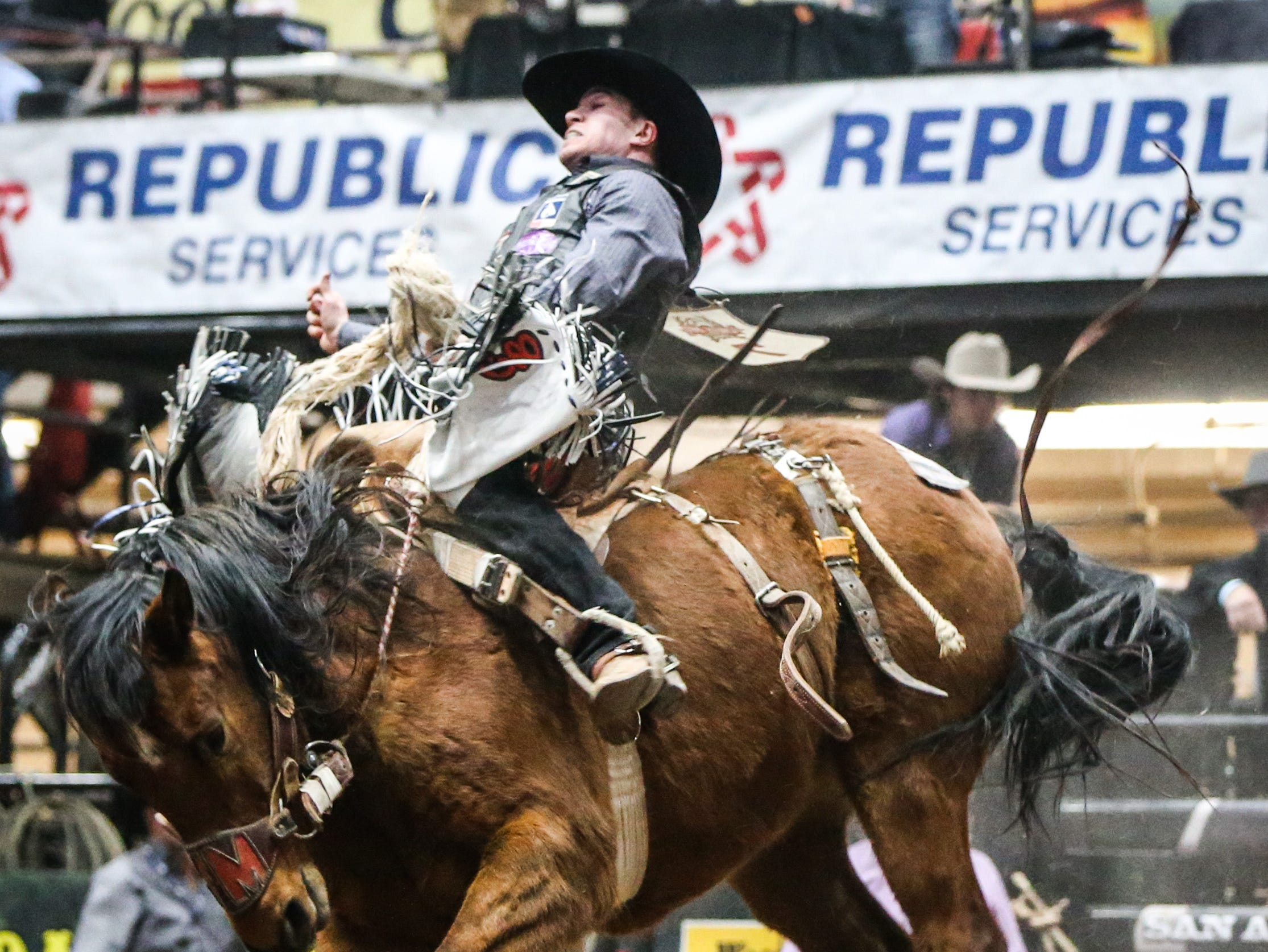 Chase Brooks rides Get Smart during Cinch Chute Out Saturday, Feb. 16, 2019, at Foster Communications Coliseum. Brooks was the saddle bronc riding champion.