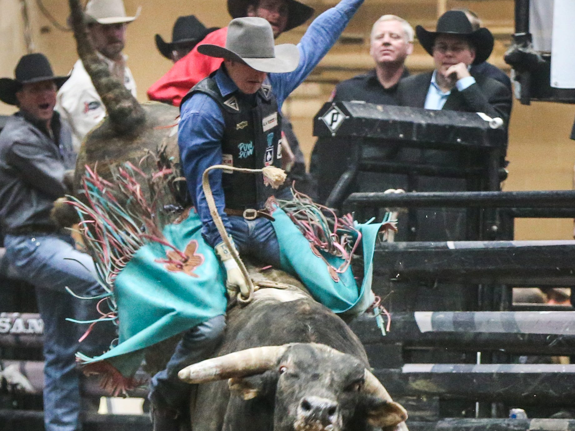 Lon Danley rides Air Marshal during Cinch Chute Out Saturday, Feb. 16, 2019, at Foster Communications Coliseum.