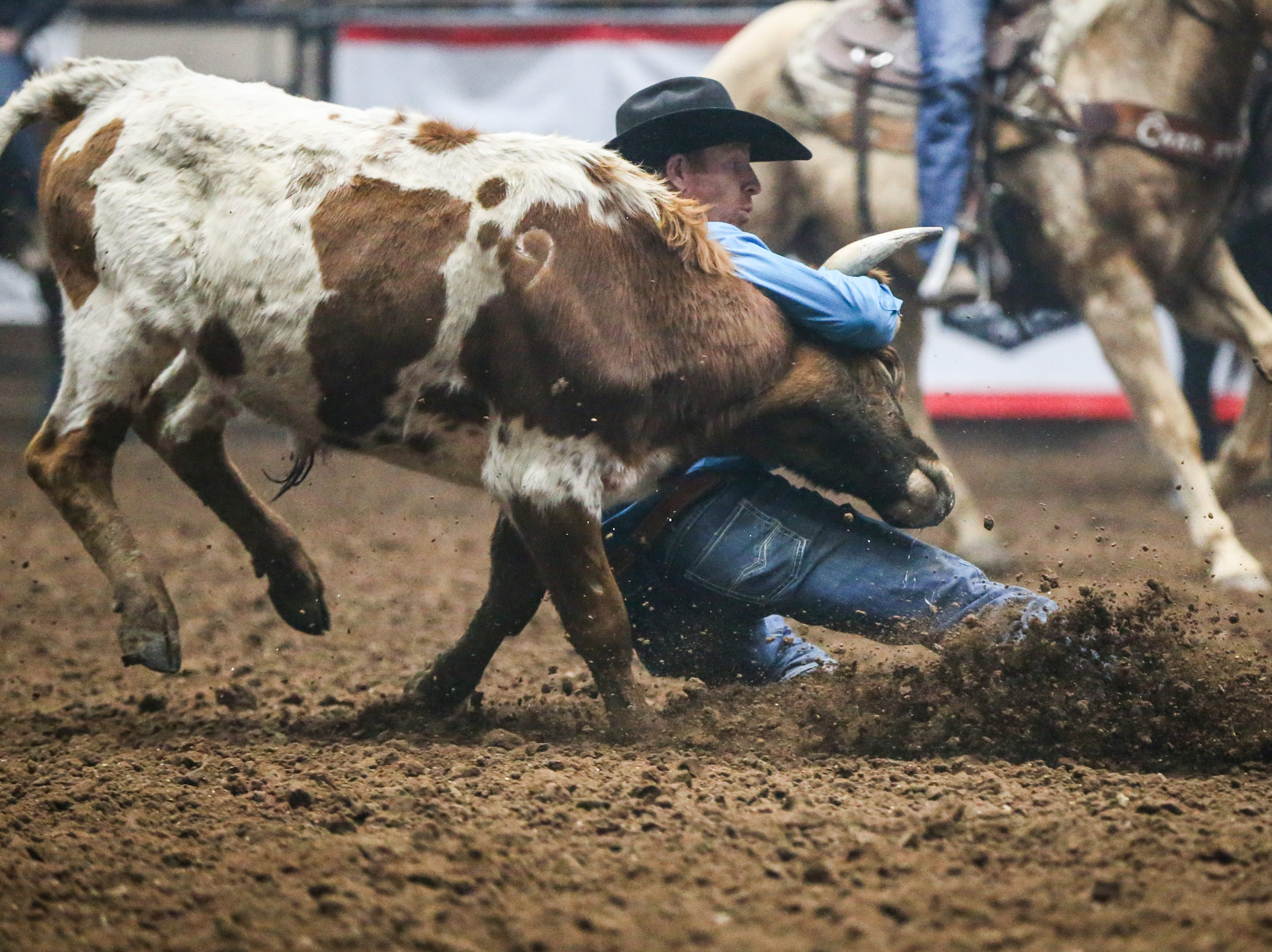 Blake Mindemann catches a steer to wrestle down during Cinch Chute Out Saturday, Feb. 16, 2019, at Foster Communications Coliseum. Mindemann was the steer wrestling champion.