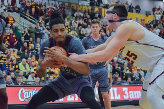 Missouri State star Tulio Da SIlva holds on to the ball after getting a rebound late in the Bears' win over Loyola.