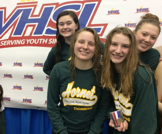 The Wilson Memorial 400 free relay team finished third at the VHSL Class 1/2 state championship Thursday. From left, Hanna Shifflett, Cameron Murie, Rachel Murie and Reagan Mundie.