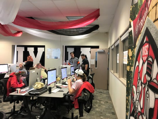 Volunteers answer phones in the 44th hour of the 50-hour trivia weekend, Feb. 17, 2019 at St. Cloud State.